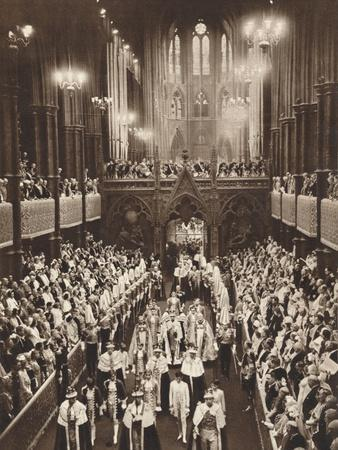 King George Vis Coronation Procession, Westminster Abbey, 1937--Photographic Print