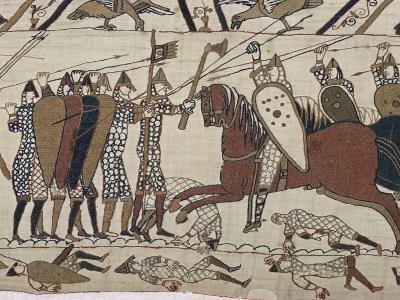 King Harold's Foot Soldieres with Spears and Battle Axes, Bayeux Tapestry, Normandy, France-Walter Rawlings-Photographic Print