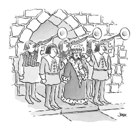 king has servants hold their fingers in his ears as trumpets behind him bl? - Cartoon-John Jonik-Premium Giclee Print