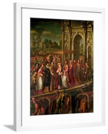 King Henri III (1551-89) of France Visiting Venice in 1574, Escorted by Doge Alvise Mocenigo-Andrea Vicentino-Framed Giclee Print
