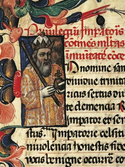 King Henry VI, Miniature from Privileges Bestowed by the King on the City Palermo, Manuscript--Giclee Print