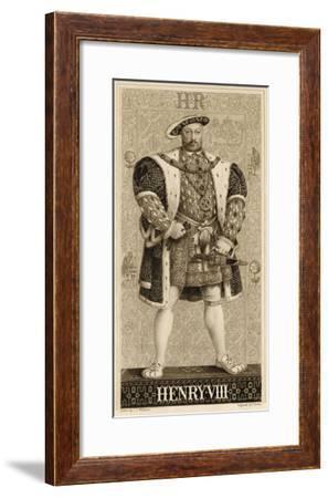 King Henry VIII Whole-Length Portait in Full Tudor Regalia Against a Decorative Background--Framed Giclee Print