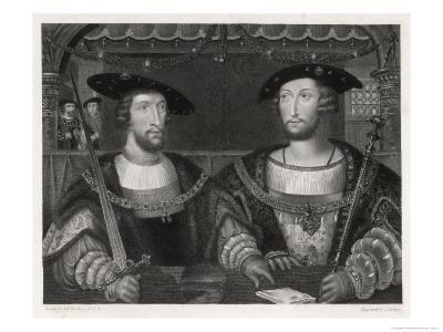 King Henry VIII with the Emperor Carl V as Young Men at the Field of the Cloth of Gold 1520-Robert Brown-Giclee Print