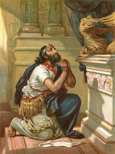 King Hezekiah Spreads His Case before the Lord-English School-Giclee Print