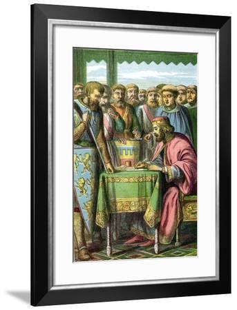King John Signing the Magna Carta at Runnymede, Surrey, 15 June 1215--Framed Giclee Print