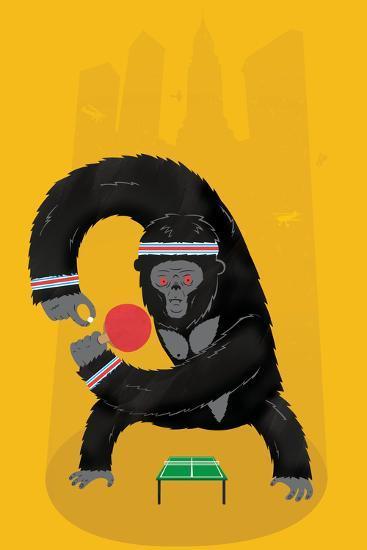 King Kong Ping Pong-Chris Wharton-Giclee Print