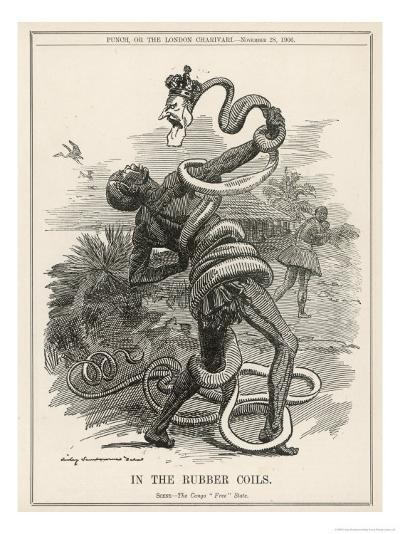 King Leopold II King of the Belgians Crushes the Belgian Congo. in the Rubber Coils-Linley Sambourne-Giclee Print