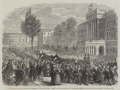 King Leopold's Public Entry into Brussels on the 24th Ult, Arrival of His Majesty at the Palace--Giclee Print