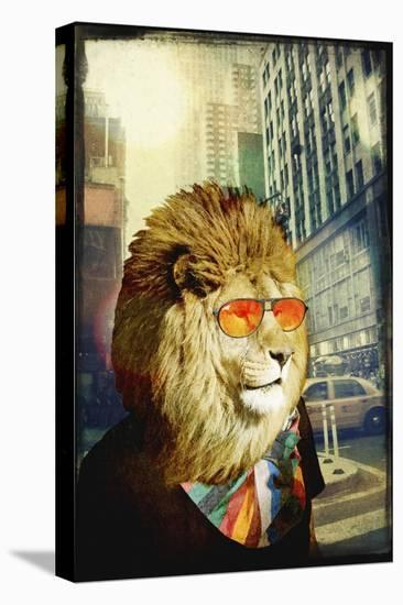 King Lion of the Urban Jungle-GI ArtLab-Stretched Canvas Print