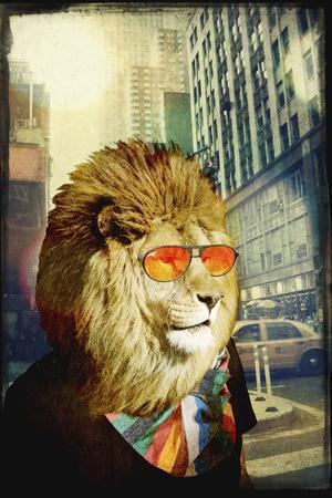 King Lion of the Urban Jungle-GI ArtLab-Premium Giclee Print
