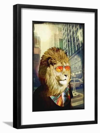 King Lion of the Urban Jungle-GI ArtLab-Framed Premium Giclee Print