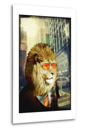King Lion of the Urban Jungle-GI ArtLab-Metal Print