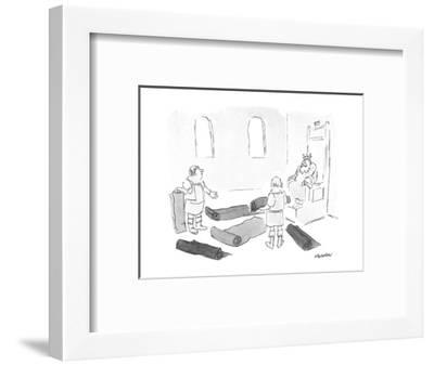 King looking at carpeting. - New Yorker Cartoon-James Stevenson-Framed Premium Giclee Print