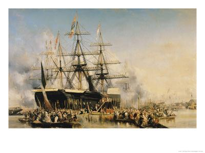 King Louis-Philippe (1830-48) Disembarking at Portsmouth, 8th October 1844, 1846-Louis Eugene Gabriel Isabey-Giclee Print