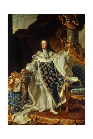 King Louis XV of France in Coronation Robe. 1730-Hyacinthe Rigaud-Giclee Print