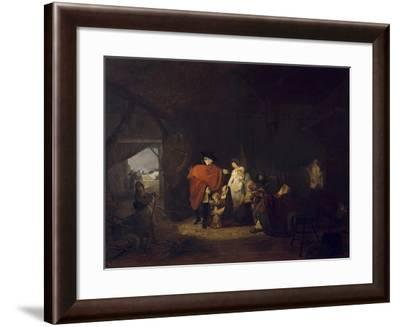 King Louis XVI Gives Alms to the Inhabitants of Versailles in Winter 1784-Louis Philibert Debucourt-Framed Giclee Print