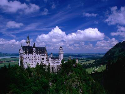 King Ludwig II's Neuschwanstein Castle and Countryside Around It, Fussen, Bavaria, Germany-Dennis Johnson-Photographic Print