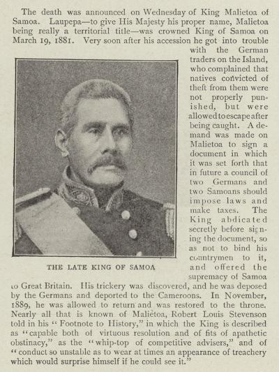 King Malietoa of Samoa--Giclee Print