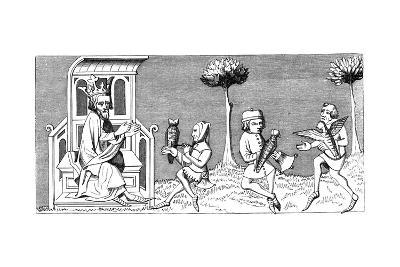 King Modus Teaching the Art of Falconry, 14th Century--Giclee Print