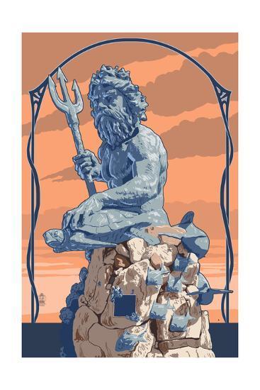 King Neptune Statue-Lantern Press-Art Print