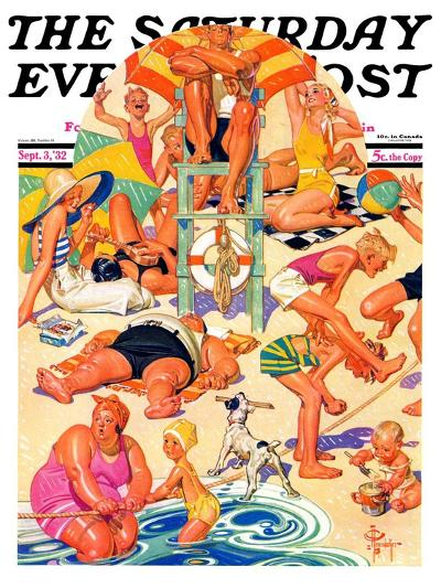 """King of the Beach,"" Saturday Evening Post Cover, September 3, 1932-Joseph Christian Leyendecker-Giclee Print"