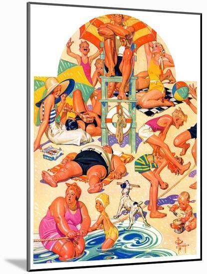 """King of the Beach,""September 3, 1932-Joseph Christian Leyendecker-Mounted Giclee Print"