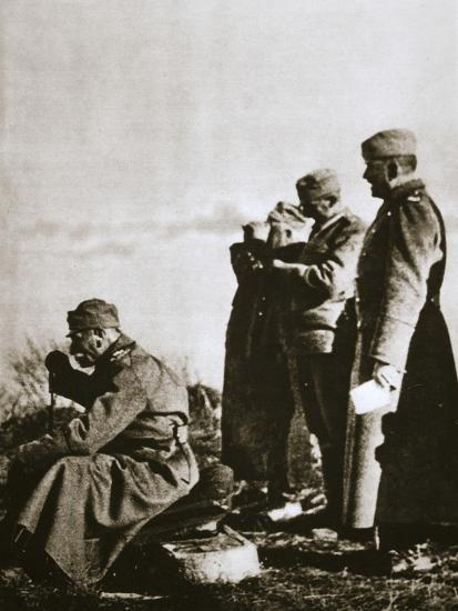 King Peter I of Serbia watching the retreat of his defeated army, 1914-Unknown-Photographic Print