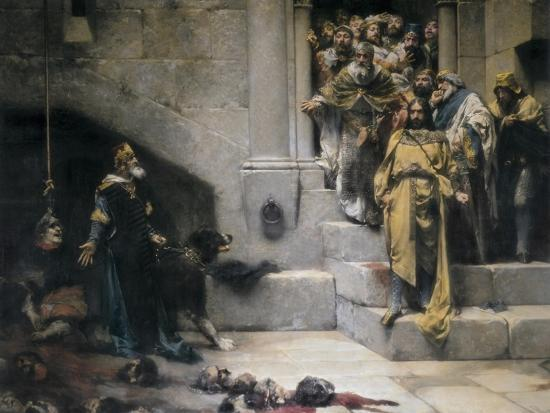 King Ramiro II Ordering Beheading of Disobedient Nobles-Jose Casado Del Alisal-Art Print