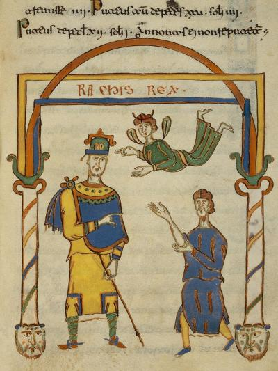 King Ratchis, Miniature from the Codex Matritensis Leges Langobardorum--Giclee Print