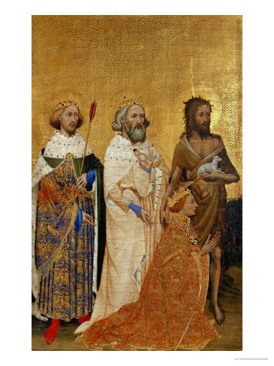 King Richard II (1367-1400) Kneeling in Front of King (Saint) Edmund and King Edward the Confessor--Giclee Print