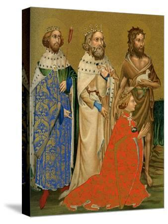 King Richard II of England and His Patron Saints, 14th Century--Stretched Canvas Print