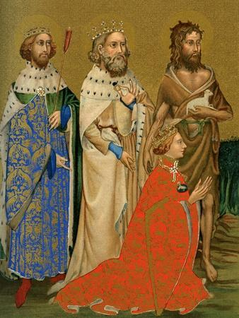 King Richard II of England and His Patron Saints, 14th Century--Giclee Print