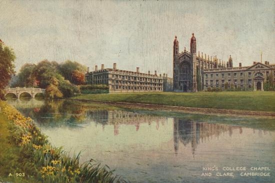 King's College Chapel and Clare College, Cambridge, c1935-Unknown-Giclee Print