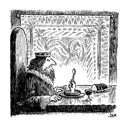King sits at a table and sees hand rising from his bowl, holding a spoon a… - New Yorker Cartoon-John Jonik-Premium Giclee Print