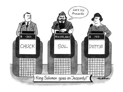 KING SOLOMON GOES ON JEOPARDY - New Yorker Cartoon-J.B. Handelsman-Premium Giclee Print