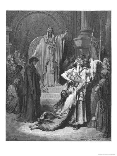 King Solomon Has to Decide Which of Two Women Claiming a Baby is the Rightful Mother-Gustave Dor?-Giclee Print