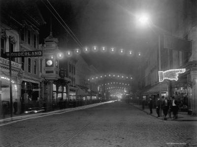 King Street, Charleston, South Carolina at Night--Photographic Print