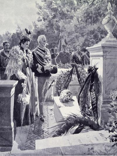 King Umberto I and Queen Margherita Visiting the Tomb of Garibaldi in Caprera April 23--Giclee Print