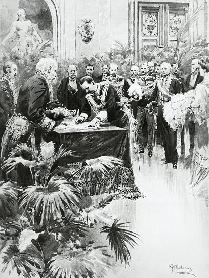 King Victor Emmanuel III Signing Umberto Ii's Birth Certificate in the Presence of Giolitti--Giclee Print