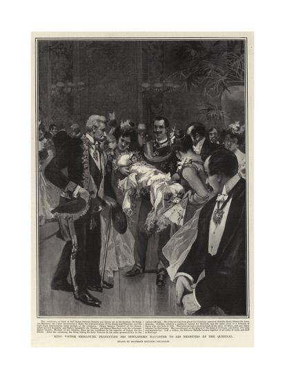 King Victor Emmanuel Presenting His Newly-Born Daughter to His Ministers at the Quirinal--Giclee Print