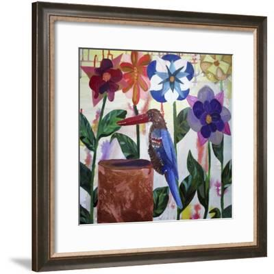Kingfisher of Flowers-Lauren Moss-Framed Giclee Print