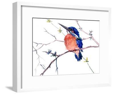 Kingfisher-Suren Nersisyan-Framed Art Print