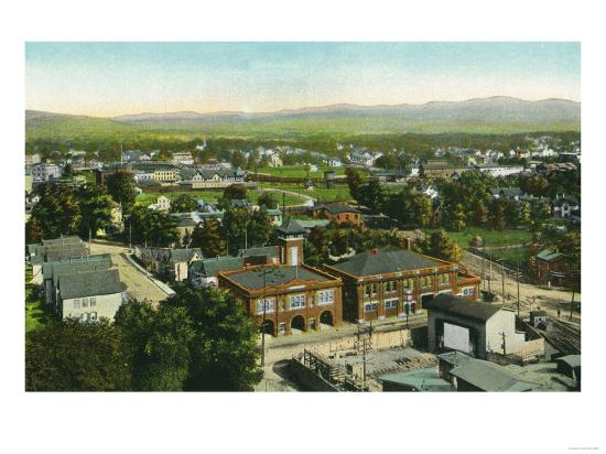 Kingston, New York - Aerial View of City, Fire Station and Municipal Bldg-Lantern Press-Art Print