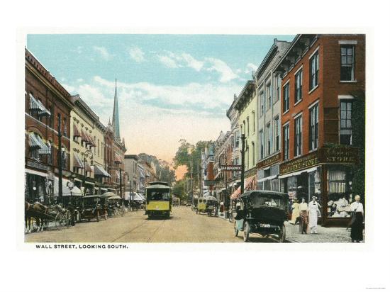 Kingston, New York - Southern View of Wall Street-Lantern Press-Art Print