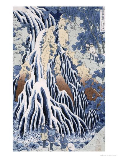Kirifuri Fall on Kurokami Mount, from the Series 'shokoku Taki Meguri-Katsushika Hokusai-Giclee Print