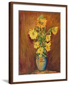 Colorful Sunflowers Bouquet On Brown Background by kirilstanchev
