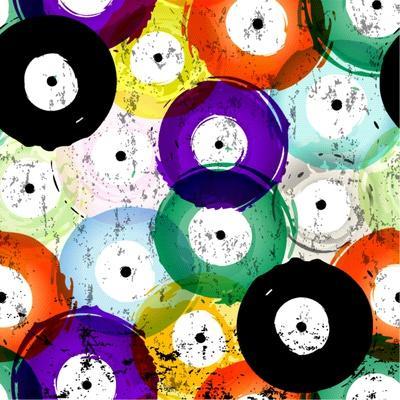 Seamless Vinyl Records Background Pattern, Vector Illustration