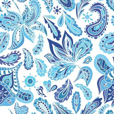 Blue Fresh Indian Vector Pattern