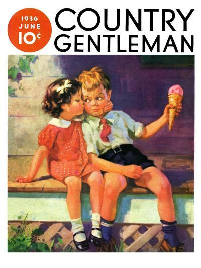 """""""Kiss for Ice Cream,"""" Country Gentleman Cover, June 1, 1936-Henry Hintermeister-Giclee Print"""