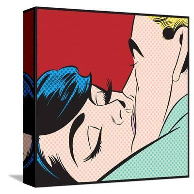 Kissing Couple Iii--Stretched Canvas Print